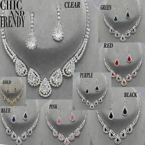 KNOCKOUT CRYSTAL FASHION PROM FORMAL WEDDING NECKLACE JEWELRY SET CHIC & TRENDY