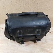 Vintage 1990s Large SONY Black Video Camera Bag Camcorder Case Leather Strap