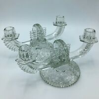 Pair of Vintage Glass and Crystal Double Candelabras Candleholders