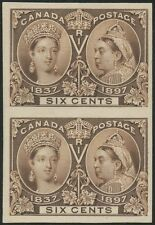 CANADA #55P4 PLATE PROOF ON CARD VERTICAL PAIR SCARCE $6 JUBILEE CV $700+ HV9928