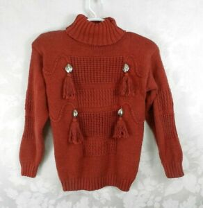 Vintage Chelsea Young Turtleneck Sweater Size M Red 100% Cotton Conchos Tassels