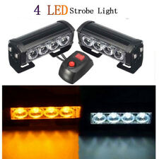 2X 4LED Car Truck Warning Emergency Beacon Strobe Flash Light Bar White&Yellow