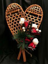 "Handmade Decorated  SNOW SHOES Christmas Wall Decor Ice Skates Present 18"" NEW"