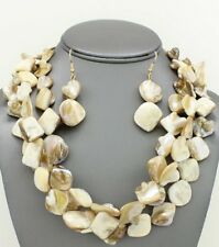 Three Strand Natural Color Mother Of Pearl Shell Necklace Earring Set
