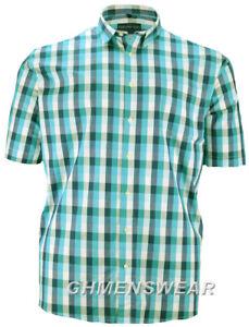 KINGSIZE HENDERSON SHORT SLEEVED CHECK SHIRT - GREEN Size XXL 2XL SALE