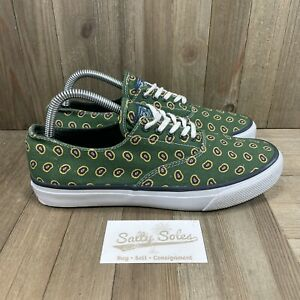 Sperry Top-Sider Green Canvas Bandana Print Lace Up Boat Shoes Men's Size 8 M