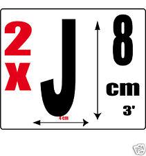 lot 2 lettres [J] Sticker autocollant noir hauteur 8cm Lettre adhésive en vinyle