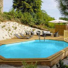 Piscina fuori terra in legno ovale Gre Safran da 637x412x133 cm completa