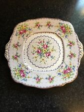 Royal Albert- Square Handled Cake plate- Petit Point- Made In England- Gold Trim