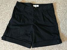Black Shorts Pants from JAPAN Cotton Pockets Tucked pleated casual bermuda Small