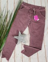 NEU ITALY ANGESAGTE BAGGY JOGPANTS STRETCH WASHED DENIM BERRY 38-42