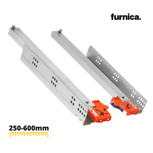 1 PAIR Soft-Close Concealed Undermount Drawer Runners/Slides 3D 250-600mm