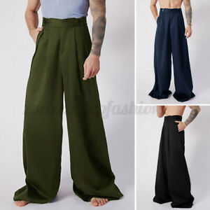 Mens High Waist Loose Casual Wide Leg Pants Hippie Baggy Formal Party Trouser US