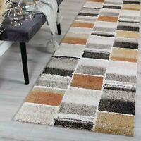 Tonle Urban Squares Beige Rust Modern Rug Runner - 2 Sizes **FREE DELIVERY**