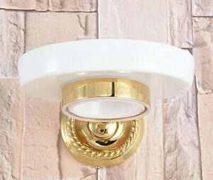 Modern Round Bathroom Wall Mounted Ceramics Soap Dish Holder Gold Color Brass