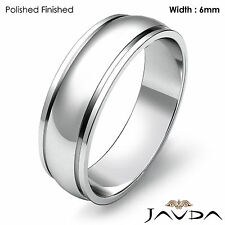 Wedding Band 6mm Women Solid Dome Step Plain Ring 18k White Gold 5.8gm Sz 7-7.75