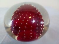 Paperweight Art Glass Bullicante red clear Holmgaard / caithness style