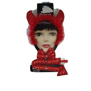 3 Piece Red Devil Set With Horns Headband Bow Tie And Tail Costume Teens Adults