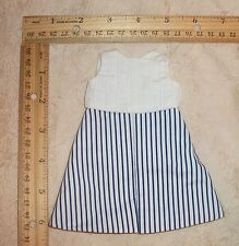 "Doll Dress fits 12"" Shirley Temple & 13"" swivel Wendy Ann Navy & white cotton"