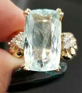 12.12TCW Vintage Light Blue Aquamarine Cushion Diamond 14k yellow gold ring