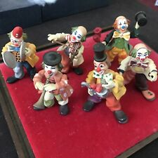 """(6) Different Anri Toriart Circus Clowns 4"""" Figurine Italy Very Good Condition"""