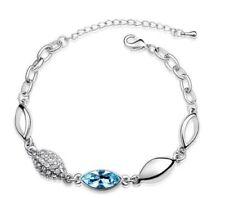 Aqua Blue Crystal Diamante Rhinestone Silver Chain Eye Bracelet