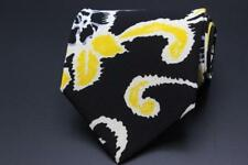 HUGO BOSS Silk Tie. Black w Yellow & White Floral. Made in Italy.
