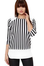 T-shirt, maglie e camicie da donna maniche a 3/4 neri con girocollo