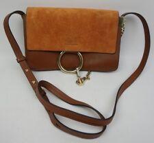 Chloe Small Faye Suede & Leather Classic Tobacco Crossbody Bag Purse
