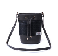 Ladies Snow Paw Black Dogtooth Harris Tweed Bucket Tote or Crossbody Bag