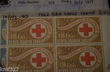 Block of 10 Kenya Uganda & Tanganyika 1963 Red Cross set MNH Scott# 142-143