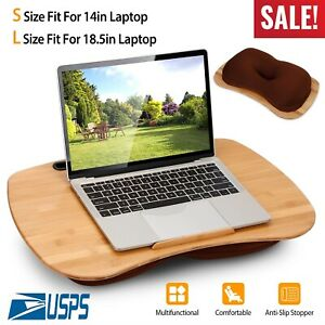 Lap Desk Laptop Stand Tray w/ Pillow Cushion Bamboo Bed Table Tray Tablet Holder