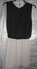 Warehouse Black & Dusky Pink Chiffon Sequin Sides Party Evening Dress size 12