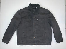 Levis Black Denim Sherpa Lined Trucker Jacket Size Men's 2XL