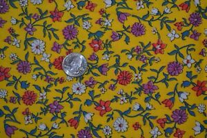 "Cotton fabric 40"" x 2 yards, yellow floral print, vtg preshrunk"