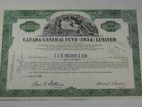 1954 Canada General Fund (1954) Limited Stock Certificate.  #120