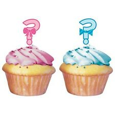 Baby Shower Cupcake Toppers x 12 Boy or Girl Pink & Blue Surprise Gender Reveal