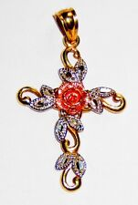 10k Gold Cross Crucifix Pendant Style CHARM Sterling Silver Overlay Leaves Rose
