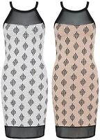 Women Mesh Insert Mini Dress Ladies Ribbed Diamond Print Bodycon Party Skirt Top