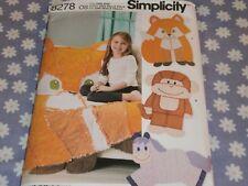 SIMPLICITY 8278 KIDS RAG QUILTS-BLANKET FOX-MONKEY-HORSE  PATTERN-UNCUT