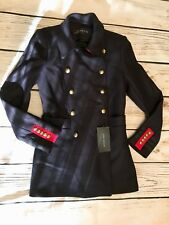 ZARA WOMAN MILITARY STYLE SHORT NAVY BLUE JACKET PECOAT BLAZER SIZE M NEW