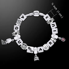 Aquarius Astrology Bead .925 Sterling Silver Bracelet Garnet Gem Peter Stone