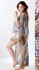 new CAMILLA FRANKS SILK SWAROVSKI YENI SARAY LAYERED SHORT FRONT KAFTAN ONE SIZE