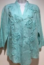 Charter Club Tunic Top Button Front Linen Blue 3/4 Sleeves Womens Size 8