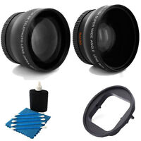 Wide Angle Lens + 2x Telephoto Lens + Adapter Ring Bundle For GoPro Hero 3+ 4