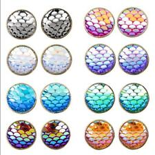 8Pairs Women Hot Rhinestone Mermaid Resin Round Copper Ear Stud Earrings Jewelry