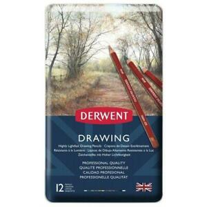 Derwent Artists Coloured DRAWING PENCILS TIN SET of 12 sketching