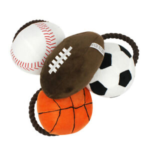FJ- FM_ BL_ Pet Dog Cats Puppy Rope Basketball Football Plush Doll Chew Squeaky