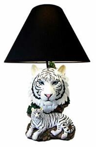 Ebros White Rare Alaskan Tiger Desktop Table Lamp Statue With Black Fabric Shade