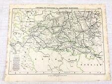 1898 Antique Railway Map of Croatia Bosnia Serbia Slovenia Austro Hungarian